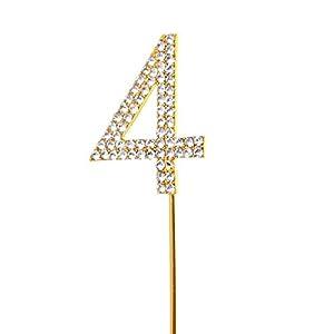 Gifts 4 All Occasions Limited SHATCHI-791 - Decoración para tarta (número 4, diseño de diamantes, color dorado)