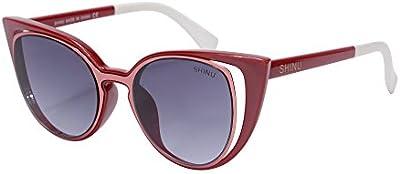 Gafas de Sol del Ojo de Gato para el Marco de la Ronda de Mujeres de Gafas Retro-SH71015(Vino Rojo)