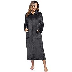 iClosam Robe de Chambre Polaire, Peignoir Femme Velours Chaud avec 2 Poches Peignoir de Bain Eponge Zippée Hiver Longue Grand Taille (Gris, M)