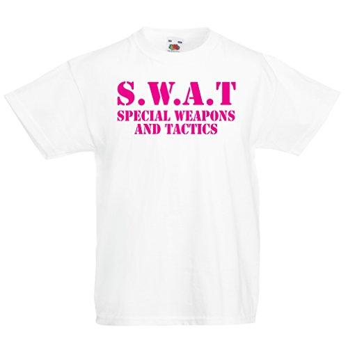 lepni.me Kinder Jungen/Mädchen T-Shirt SWAT - Spezialwaffen- und Taktik Team der Vereinigten Staaten - Militärausrüstung (1-2 Years Weiß Magenta)