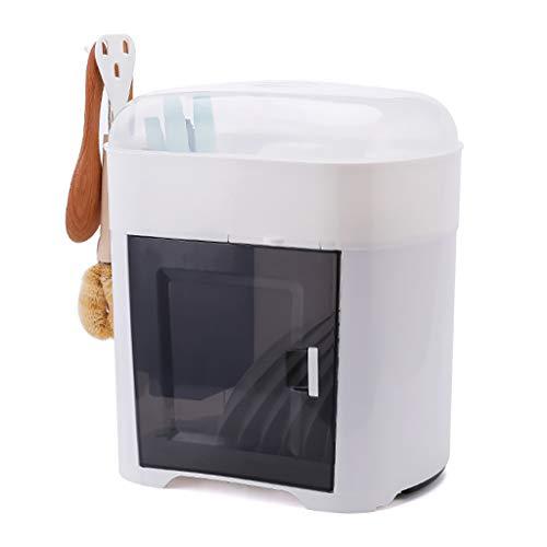 WYQ Blanc Couvert égouttoir Vaisselle Plastique, avec Plateau (pour Ranger Bols, Assiettes, Tasse, Vaisselle) (Couleur : Blanc, Taille : Dish Rack)