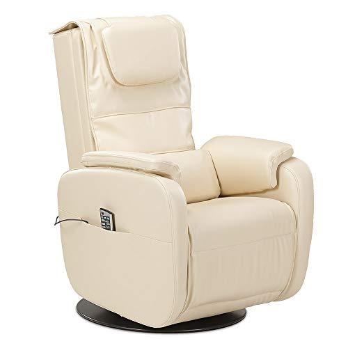 maxVitalis Massagesessel, Fernsehsessel mit Wärmefunktion, 5 Massagearten, stufenlos elektrisch verstellbar, 3 Massageprogramme, bis 120 kg belastbar (Creme)