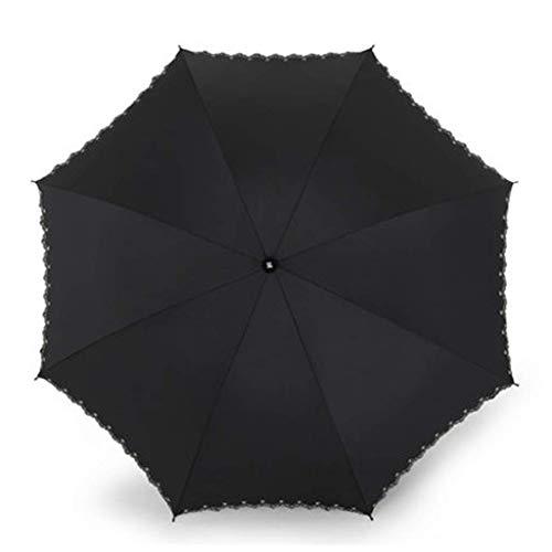 MDD Outdoor-Reise-Regenschirm Mode Stickerei Einfache Falten Sunny Vinyl Männliche Doppelschicht Anti-Uv-Sonne, Sonnenschirm mit doppeltem Verwendungszweck,Schwarz