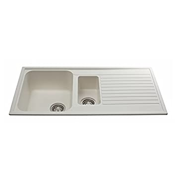 cda as2cm 15 bowl composite kitchen sink in cream fully reversible amazoncouk diy tools - Kitchen Sink Uk