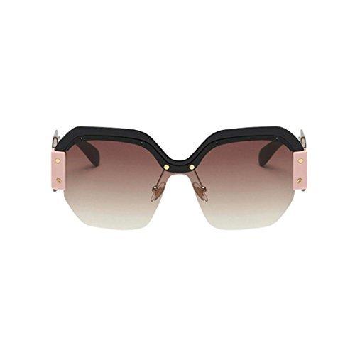 Damen und Herren Brille Rosennie Ladies Fashion Retro Große Rahmen Sunglasses Frauen Vintage Sonnenbrille Retro Big Frame UV400 Schutz Brillen Mode Kat-Eye Halbrahmen Ultra Leicht Eyewear (B) (Frame-schutzbrillen)