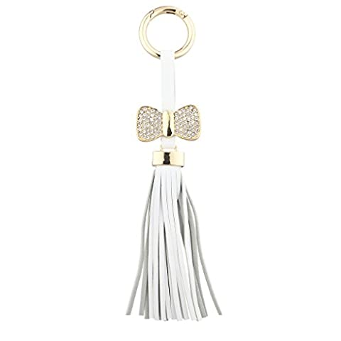 Lux Accessories White and Gold Tone Leather Tassel Pave Bow