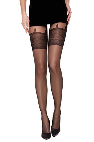 Selente Lovely Legs raffinierte Damen Strumpfhose in Strapsstrumpf-Optik, 20 DEN, Made in EU, schwarz-Spitze, Gr. L - Spitze-blickdichte Strumpfhose