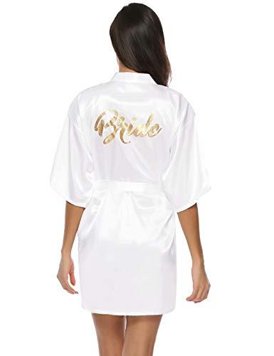 Aiboria Accappatoio Vestaglie Donna Pigiama Kimono,Vestaglia da Sposa Camicia da Notte in Raso