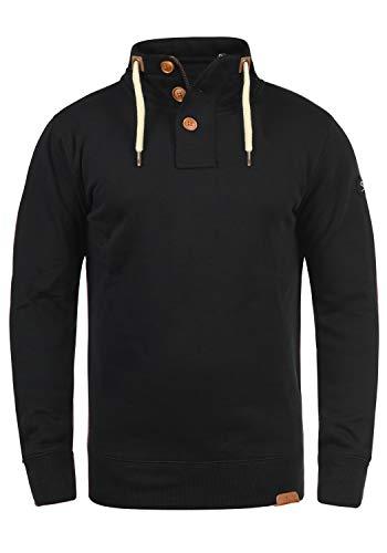 !Solid TripTroyer Herren Sweatshirt Pullover Troyer Pulli Mit Stehkragen Und Knopfverschluss, Größe:XXL, Farbe:Black (9000)