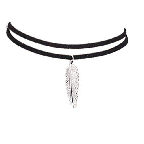 LANSKIRT Mode Doppel Leder Schnur Halskette für Damen Mädchen Frauen blattförmigen Anhänger Halskette (Schwarz)