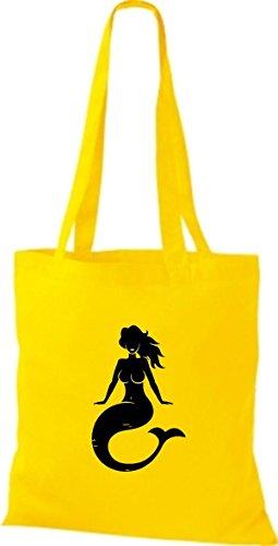 ShirtInStyle Stoffbeutel Baumwolltasche Sailing Motive Meerjungfrau gelb