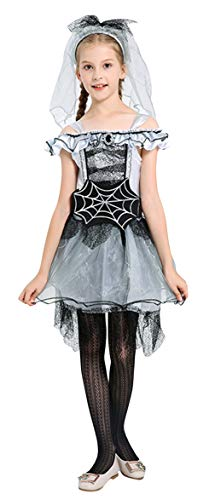 Kostüm Braut Spinne - DEMU Halloween Mädchen Hexe Geist Braut Königin Vampir Kostüm Spinne Rollenspiel Uniform Cosplay M(120-130)