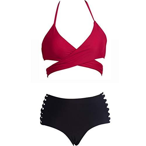 4afe770a85c876 Riou Sexy Bikini Damen Set Push Up High Waist Solid Trägerlos Zweiteiliges  Bikinis Set Frauen Sommer Sport Brüste Badeanzug Bauchweg Tankinis mit  Bügel für ...