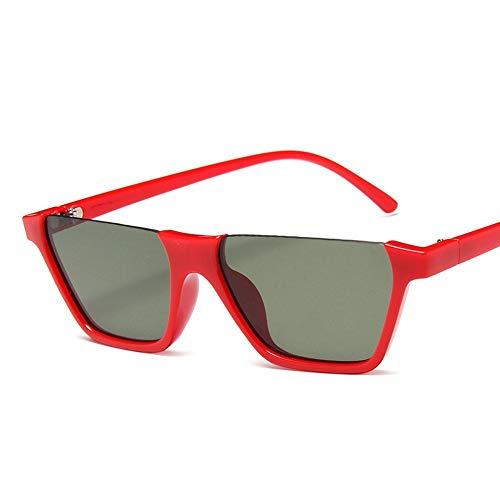 WDDYYBF Sonnenbrillen, Klassische Mode Retro Sonnenbrille Super Hälfte Frame Brille Cat Eye Semi-Rimless Frauen Sonnenbrille Brille Schutzbrille Uv400 Roter Rahmen, Grüne Linse