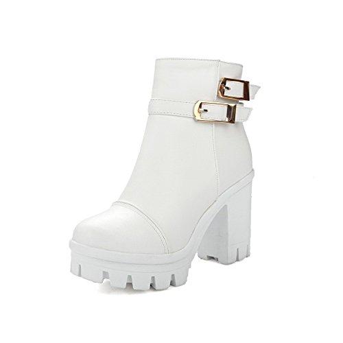 VogueZone009 Damen Weiches Material Rund Zehe Rein Hoher Absatz Stiefel mit Schnalle, Weiß, 36
