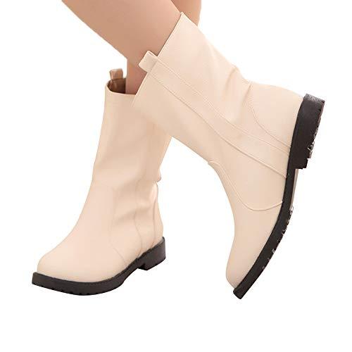 TianWlio Stiefel Frauen Herbst Winter Schuhe Stiefeletten Boots Warme Stiefel Flache Mit Baumwolle Schuhe Weiche Unterseite Schnee Kurze Stiefel Schuh Beige 38