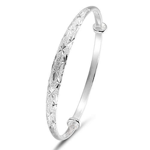20% Rabatt mecool S990 Multi Sterling Silber Armbänder verstellbar Texturierte Armreif Armband Mill Finish Armreif Armbänder Mill Finish
