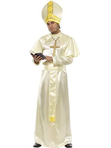 Fancy Ole - Herren Männer Männer Papst Kostüm mit Robe, Schärpe, Mütze, Umhang und Kette, perfekt für Karneval, Fasching und Fastnacht, M, Weiß