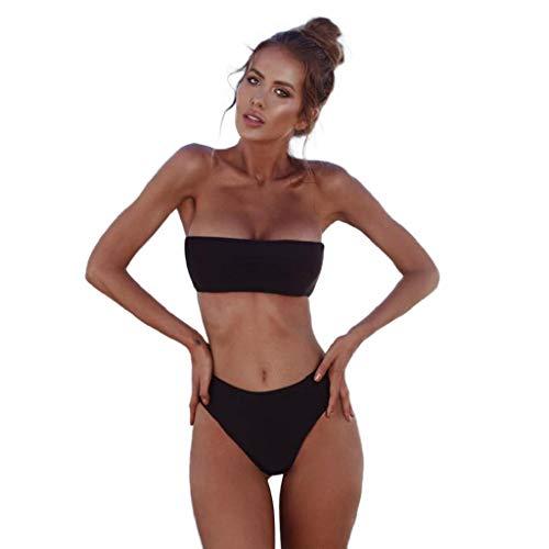 edd70acd1 SHOBDW Trajes de baño Mujer Bikini Conjunto Sujetador Bandeau Básico Sólido  Push-Up Ropa De Playa Brasileña Traje De Baño De Cintura Alta Traje De Baño  De ...