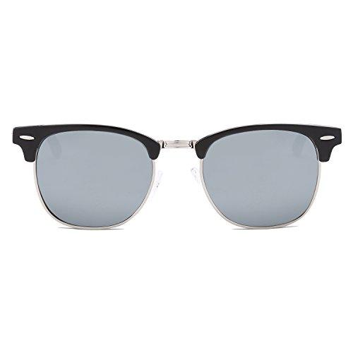 SOJOS Herren Brille Nerdbrille Brillenfassungen Wechselgläser Silikone Nasenpolster SJ5018 mit Schwarz Rahmen/Silber Linse