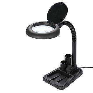Tischleuchte mit 36 LED-Leuchten + 5X 10X-Lupe, Lupenlampe Lupenleuchte für Reparaturarbeiten Lesebeleuchtung und sonstiger Arbeitsbedarf (Schwarz)