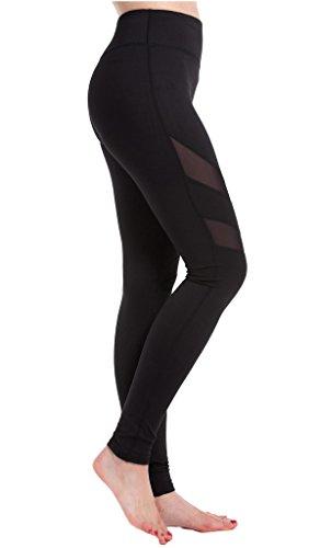 Harem Yoga Damen Aktive Hosen Yoga Leggings mit verschiedenen Mesh Design Black2