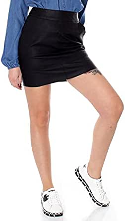 Only Onlbase Faux Leather Skirt Otw Noos Gonna, Nero (Black), 42 IT Donna