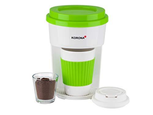 Korona 12203 Kaffeemaschine in grün-Filter Kaffeeautomat mit Becher to Go, 350 milliliters, weiß