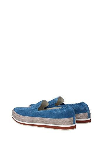 Prada slip on homme en daim sneakers blu Bleu