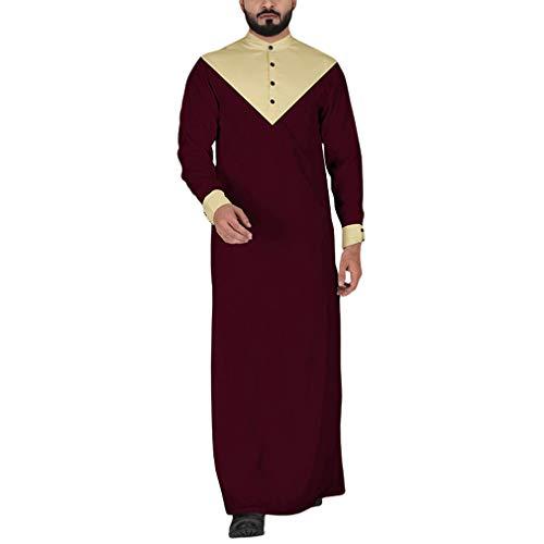hibote Herren Muslim Robes Rundhals Lange Ärmel Pullover mit Knopf Lose Farbe Spleißen Outerwear Nahen Osten Dubai Araber Kaftan Mantel Große Größen S-5XL -