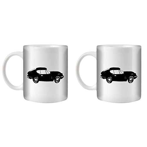 STUFF4 Tea/Coffee Mug/Cup 350ml/2 Pack Black/GT6 Mk3/White Ceramic/ST10