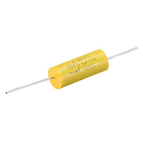 sourcing map 100V 1,5uF DC Axialer Runder Kondensator Polypropylenfolie für Audio Teiler Gelb de -
