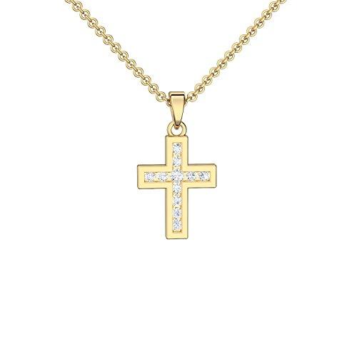 Kreuz Kette Gold (Silber 925 hochwertig vergoldet) mit Zirkonia + GRATIS Luxusetui + Kreuz Anhänger mit Stein Kette mit Kreuz Kreuzanhänger Kommunion Konfirmation Taufkette FF431 VGGGZIFAZIFA45