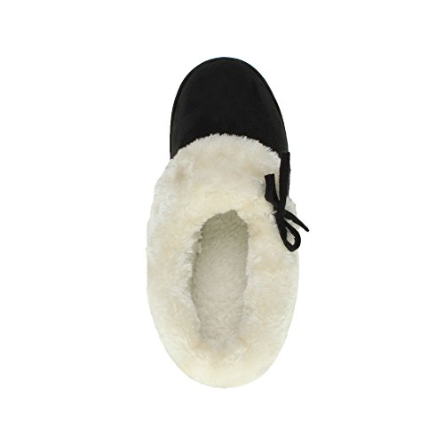 Femmes luxueux fourrure fausse chaude bottines chaussons chaussures pointure Noir
