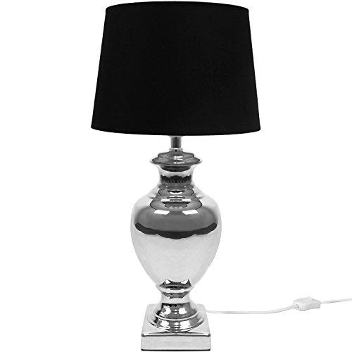 Moosgummi-füße (Tischlampe E27 40W H53cm Silber/Schwarz Tischleuchte Stehlampe Stehleuchte Leselampe Leseleuchte)