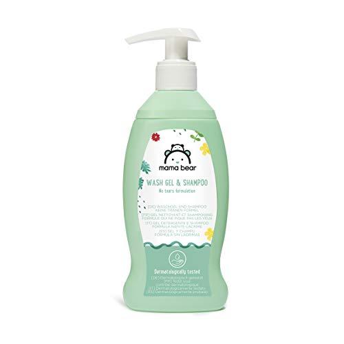 Marque Amazon- Mama Bear  Gel nettoyant et shampooing  pour bébé (Formule qui ne pique pas les yeux), 4 flacons  4x200ml