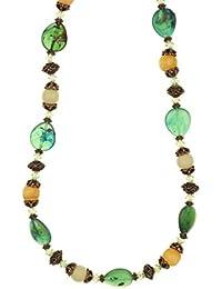 fad629434a95 behave® Mujer Collar de Abalorios con Cuentas de Madera Hecho de plastico -  Verde -