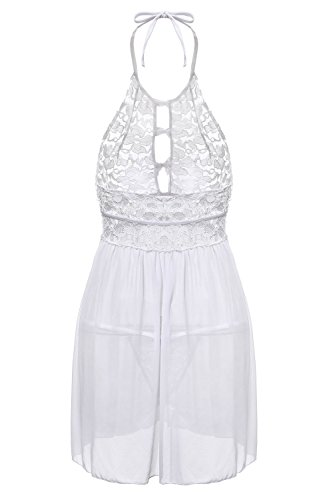 BMAKA Dessous Unterwäsche Lingerie Spitze Babydoll Nachtwäsche + G-String White