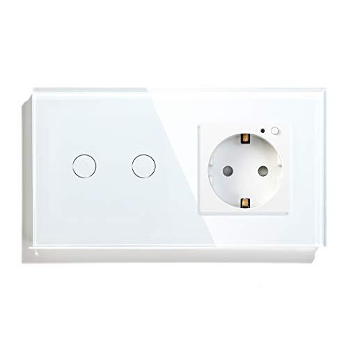 BSEED WIFILichtschalter mit WIFI Anschluss Kompatibel mit Alexa und Google Home Berührungsempfindliche 2 Fach 1 Wege Lichtschalter und Smart Eu Anschlüsse in Weiß -