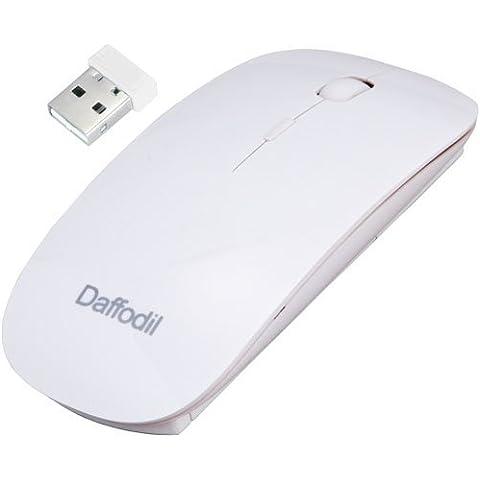 Daffodil WMS500W Ratón Óptico Inalámbrico 2.4GHz – Mouse sin cables con 3 Botones, Rueda de desplazamiento y Sensibilidad Ajustable (Max. 1600dpi) - Ordenadores de sobremesa / Portátiles / Netbooks – Compatible con Microsoft Windows (8/7/XP/Vista) y Apple MAC (OS X +) - Alimentación por pilas (2xAAA Incl.) [Color