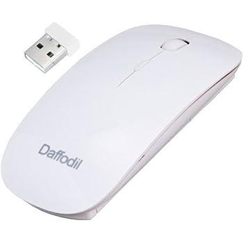 Daffodil WMS500W Souris sans fil 2,4GHz avec mini récepteur USB et DPI réglable, alimentée par 2 piles AAA (incluses) – Couleur blanche