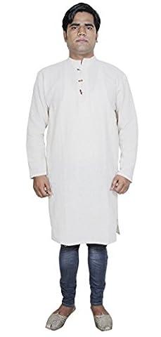 Indian Cotton Shirt - Long Sleeve Mens Yoga Clothing -Tunic Short Kurta -Size M