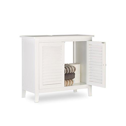 Relaxdays Waschbeckenunterschrank weiß LAMELL, Badschrank aus Bambus, Waschbeckenschrank, HxBxT: ca. 60 x 67 x 30 cm
