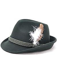Traditioneller Trachten-Hut grün mit echter Hutfeder, hochwertig 100% Wollfilz
