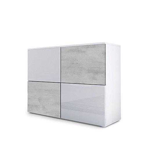 Kommode Sideboard Rova, Korpus in Weiß matt / Türen in Weiß Hochglanz und Beton Oxid Optik