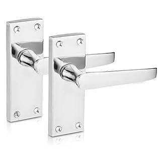 XFORT® Lever Latch Flat Polished Chrome Door Handles, Elegant Door Handle Set for Wooden Doors, Classic Victorian Straight Design, Ideal for All Types of Internal Doors [1 Pair].