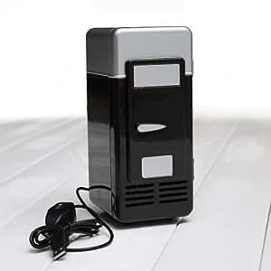 Mini USB LED PC Fridge Refrigerator Drink Cans Food Cooler Warmer ES9P --- Color:Black