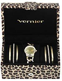 Vernier VNR1400SET Zweifarbige Armbanduhr und Schmuckkästchen für Damen
