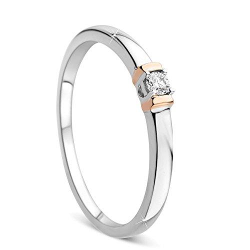 Orovi Damen Verlobungsring Gold Solitärring Diamantring 9 Karat (375) Brillanten 0.05crt Weißgold Ring mit Diamanten (Diamant Weißgold Damen Ring)