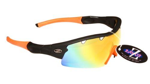 Rayzor Professionelle Leichte UV400 Schwarz Sports Wrap Kricket Sonnenbrille, Mit einer 1 Stück Entlüfteter orange Iridium Widergespiegeltes Objektiv.